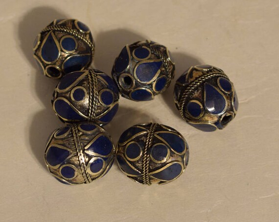 Beads Middle Eastern Lapis Blue Oval Brass Round Beads Handmade Handcrafted 3 Lot Blue Beads Brass Crafts Jewelry Beads