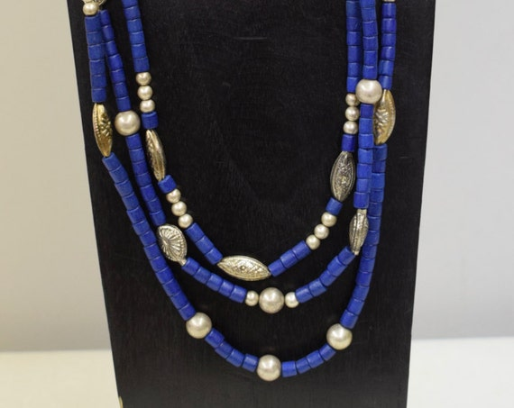 Necklace Vintage Blue Wood  3 Strand Tribal Silver Beads German Beads Vintage Handmade 3 Strand Blue Wood Silver Necklace One of a Kind  A