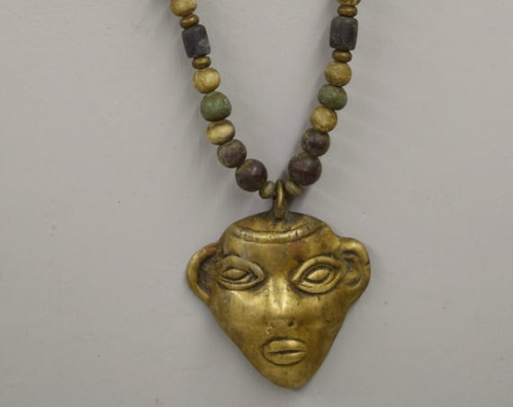 Naga Necklace Brass Head Pendant India Handmade Yellow Blue Green Beads Trophy Naga Brass Head Necklace Unique