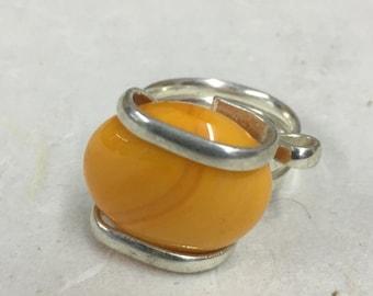 Ring Silver Orange Colored Glass Handmade Glass Silver Jewelry Ring Fun Clear Orange Color Glass Unique