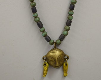 Naga Necklace Brass Head Pendant India Handmade Blue Green Beads Trophy Naga Brass Head Necklace Unique