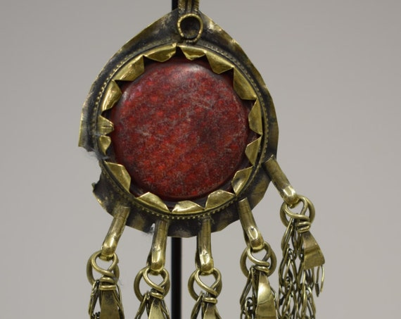 Pendant Middle Eastern Silver Brass Kuchi Red Reflector Light Handmade Jewelry Belly Dancing Unique Kuchi Dangle Pendant