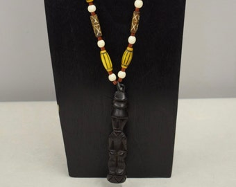 Necklace Vintage Indonesian Wood Carved  Deity Figure  Pendant Yellow Tubes Cord Handmade Spiritual Tubes Tree Seeds Tribal One of a Kind A