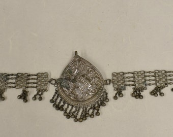 Necklace Choker Pendant India Old Silver Vintage Handmade Necklace Jewelry Silver Floral  Pendant India Old Silver