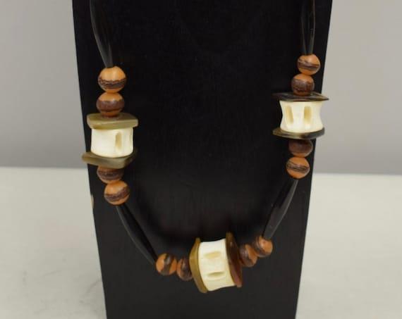 Necklace Vintage Shark Vertebrae Yellow Buri Nut Beads Handmade Tribal Necklace Jewelry Black Beads Shark Vertebrae One of a Kind D