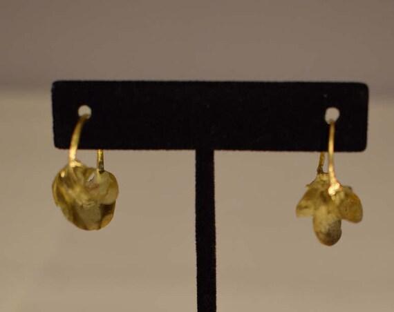 Earrings African Fulani Brushed Gold Brass Fulani Women Earrings