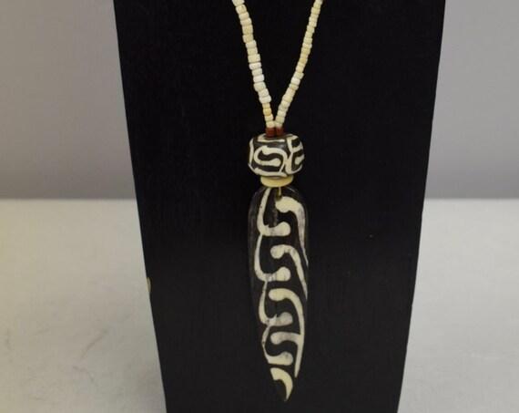 Necklace Batik Bone African Spear Pendant Ostrich Shell Beads D