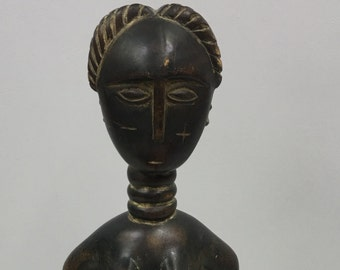 Statue African Luba Motherhood Figure Wood Zaire Handmade Woman Mothehood Spirit Ancestor Powerful Initiation Ceremonial Unique Statement P