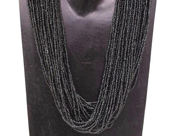 Necklace Vintage Necklace Middle Eastern Tribal Black Mutil Strand Black Glass Handmade Tribal Black Glass Beads Necklace Unique G