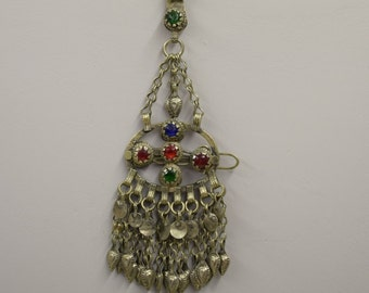 Necklace Pendant Barrette Middle Eastern Silver Kuchi Chain Red Green Foil Paper Glass Handmade Jewelry Belly Dancing Kuchi Dangle Pendant