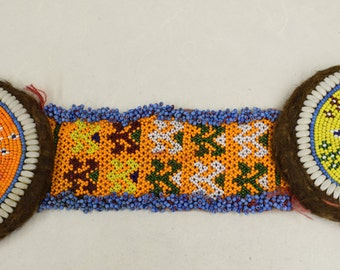 Flowers Decorative Emblems Beaded Dresses Belts Trivets Shell Beads Middle East Tribal Handmade Yellow Red Blue Beads Clothing Unique