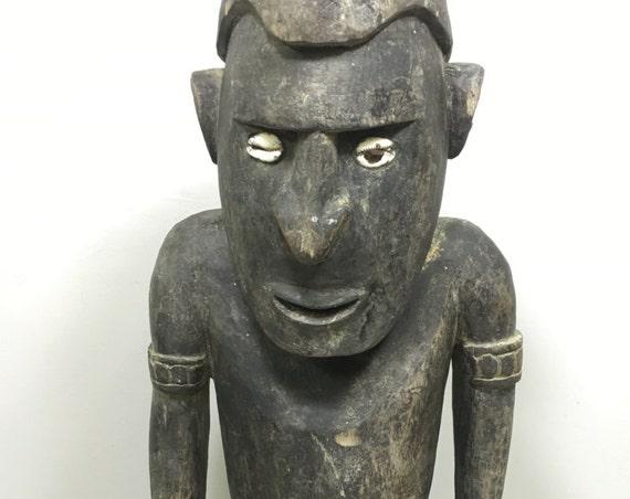 Papua New Guinea Statue Iatmul Kambot Village Male Wood Ancestor Ceremonial Statue