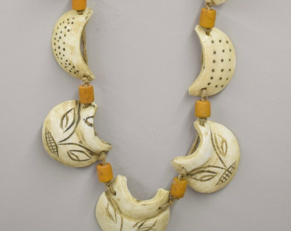 Necklace Conch Shell Discs Etched Face Nagaland India Old Glass Tribal Handmade Etched Conch Shells Ornamental Ceremonial Unique
