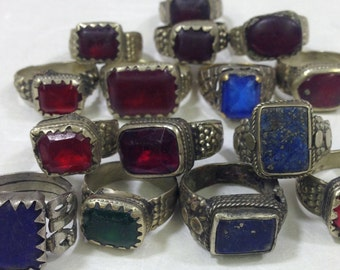 Ring Middle Eastern Silver Blue and Red Green Glass Kuchi Rings