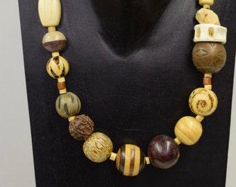 Necklace Vintage Philippine Wood Buri Nut Shark Vertebrae Cork Beads Handmade Assorted Wood Cork Nut Beads Necklace Jewelry Philippines E