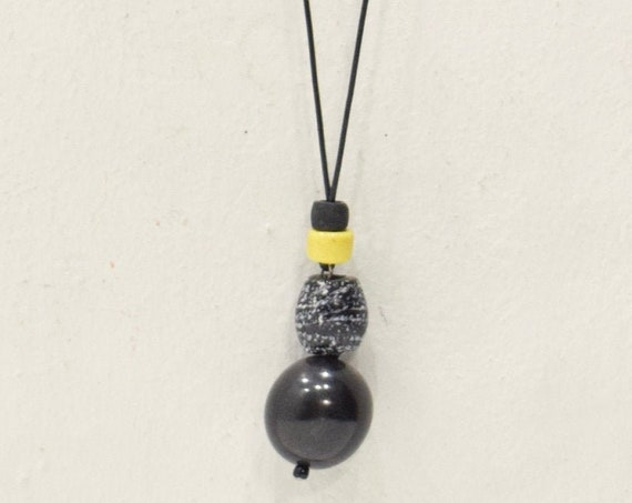 Necklace Indonesian Horn Yellow Glass Cord  Necklace