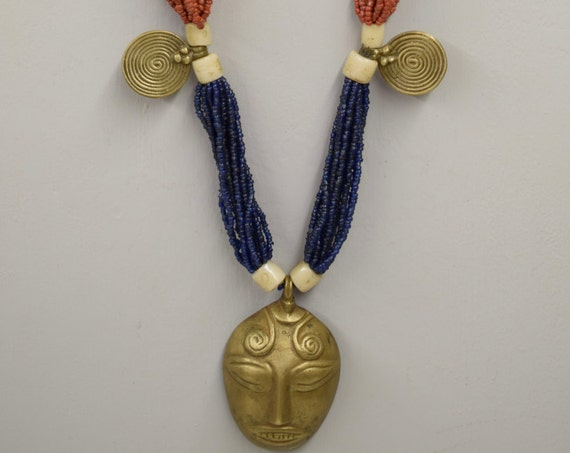 Naga Necklace Brass Head Pendant India Handmade Multi Strand Blue Red Beads Trophy Naga Brass Head Necklace Unique