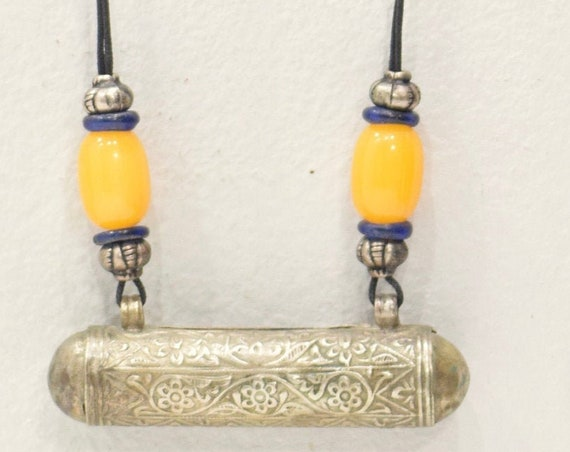 Necklace Cord Silver Prayer Tube Copal Amber Silver Cord Necklace