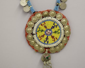 Necklace Collar Beaded Middle East Tribal Handmade Yellow Red Blue Beads  Clothing Necklace Jewelry Collar Unique