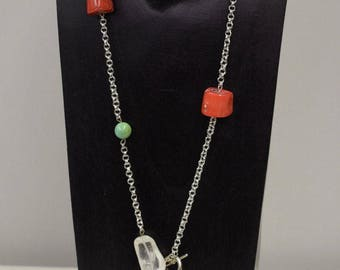 Necklace Silver Chain Chinese Coral Turquoise Crystal Silver Chain Necklace