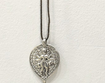 Necklace India Silver Durga Diety Cord Necklace