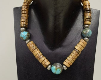 Necklace Chinese Turquoise Round Stones Palm Wood Beaded Necklace