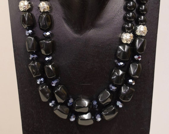 Necklace Vintage 2 Strand Black Costume Plastic Beads Silver Hematite Handmade Silver Black Jewelry Necklace Unique H