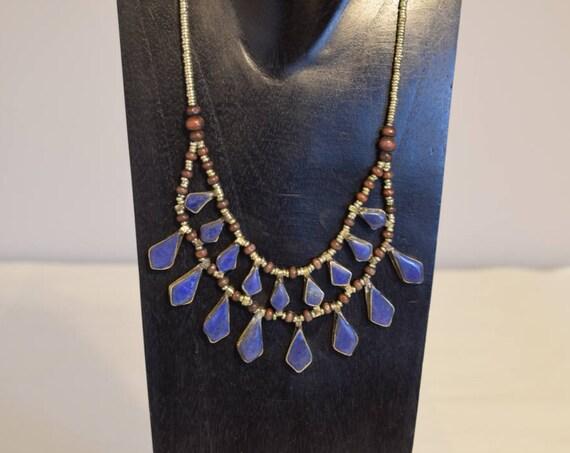 Necklace Blue Lapis Middle Eastern Kuchi 2 Strand Pendant Handmade Tribal Women Necklace Lapis Triangular Necklace
