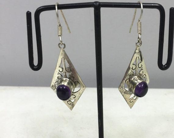 Earrings Sterling Silver Ameythst Tibetan Etched  Dangle Purple Amethyst Stone Handmade Purple Sterling Silver Earrings Unique E104