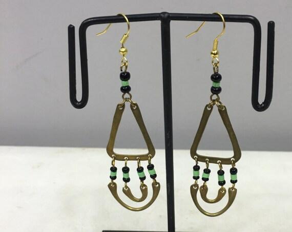Earrings Brass African Masai Beaded Triangle Hoop  Earrings Handmade Green Black Glass Dangle Brass Women Earrings Unique Tribal E96