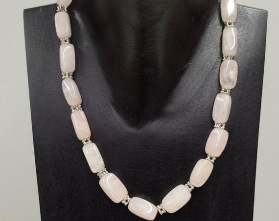 Necklace Vintage Pink Rose Quartz Rectangular Stone Beads Handmade Jewelry Silver Pink Rose Quartz Necklace Beads Unique C
