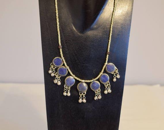 Necklace Blue Lapis Middle Eastern Kuchi Pendant Bells Handmade Tribal Women Necklace Lapis Round Pendants Silver Necklace