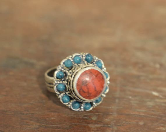 Ring Middle Eastern Silver Coral Turquoise Bead Flower Handmade Tribal Etched Silver Coral Turquoise Bead  Ring