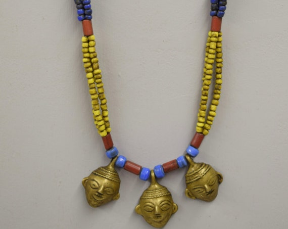 Naga Necklace Brass Head 3 Pendant India Handmade Blue Red Yellow Beads Trophy Naga Brass Head Necklace Unique