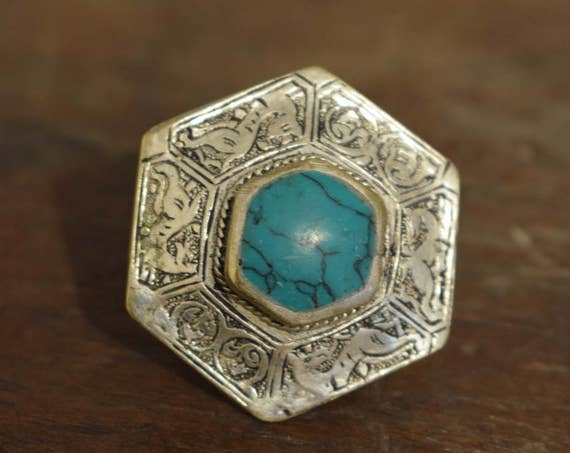 Ring Middle Eastern Silver Turquoise Etched Octagon Shape Handmade Tribal Etched Silver Turquoise  Ring
