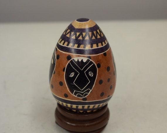 African Egg Soapstone Painted Black Mask Kenya Handmade Painted Soapstone Dotted Black Brown Mask African Design Egg