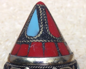 Ring Silver Turquoise Coral Inlay Kuchi Ring