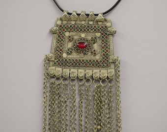 Necklace Pendant Middle Eastern Silver Kuchi Red Glass Leather Cord Handmade Jewelry Belly Dancing Unique Kuchi Dangle Pendant