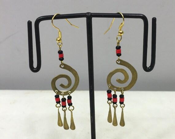 Earrings Brass African Masai Beaded Swirl Coil Earrings Handmade Red Black African Beads Brass Women Earrings Dangle Unique Tribal E93