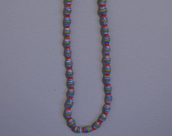 Beads African Sand Cast Strand Blue Red Yellow Oval Glass  Beads Handmade Tribal Red Blue Necklace Jewelry Glass Beads