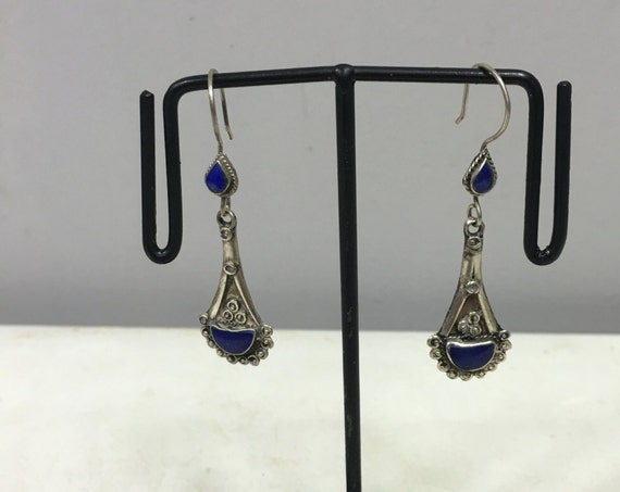 Earrings Silver Lapis Middle Eastern Etched  Dangle Blue Lapis Stone Handmade Lapis Sterling Silver Earrings Unique E121