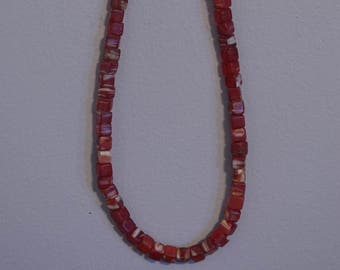 Beads African Red Kakamba Marbelized Glass  Dice Beads