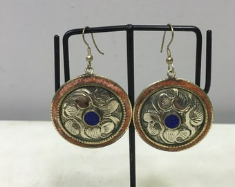 Earrings Silver Tibetan Dangle Blue Lapis Coral Handmade Dangle Round Earrings Jewelry Silver Flower Coral Lapis Jewelry Unique E119