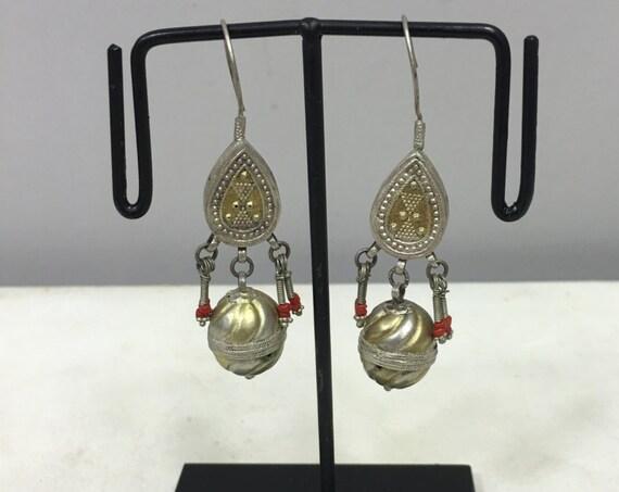 Earrings SIlver Gold Gilt  Dangle Earrings Carnelain Middle East Handmade Jewelry Earrings Carnelian Red Tribal Silver Unique Statement E111