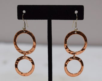 Earrings Plated Copper Textured Double Circle Dangle Earrings 60mm
