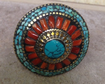 Tibetan Silver Turquoise Coral Ring