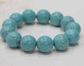 Bracelets Turquoise Stabilized Round Stone Elastic Stretch Bracelet