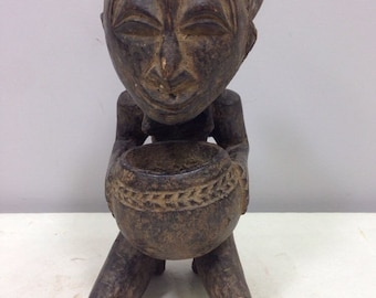Statue African Luba Diviners Cup Bearer Statue