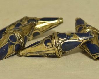 Beads Blue Lapis Brass Bicone Beads 28mm