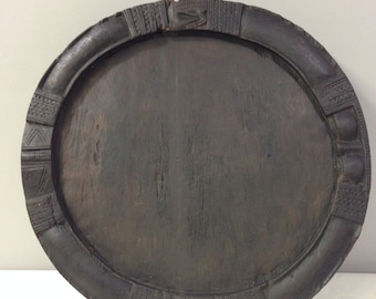 African Nigeria Old Yoruba Wood Divination Tray